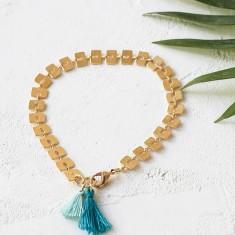 Bamboo tassel aqua bracelet
