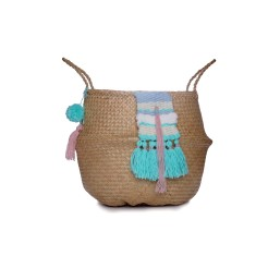Seagrass belly basket with sky blue, turquoise, white & pink wool weave
