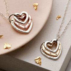 Personalised Family Heart Diamond Necklace