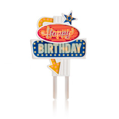 Suck UK flashing happy birthday cake topper