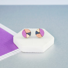 Circle geometric earrings in mauve pink, bronze and dusty blue