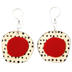 Red and black retro earrings