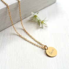 Personalised Gold Tiny Love Disc Pendant Necklace