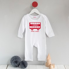 London bus screen-printed long sleeved romper suit