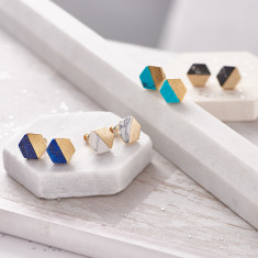 Hexagonal Marble Stone Stud Earrings
