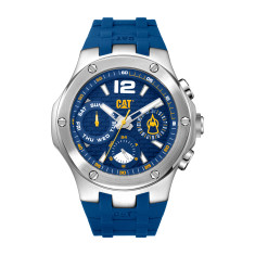 CAT NAVIGO MULTI dial Dual Time Watch in Stainless Steel with Blue Rubber Band and Face