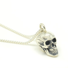 Large Calvariam Skull Pendant in Silver