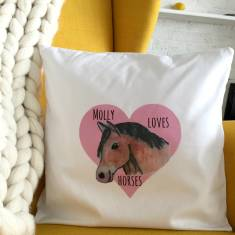 Personalised horse cushion cover