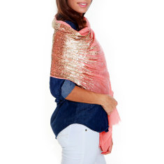 Sequin Amelie scarf in peach & gold