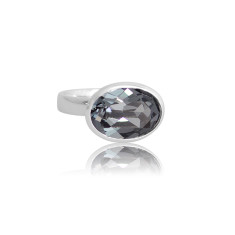 Crystal Silver Night Oval Ring