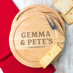 Personalised Couple's Engraved Cheese Board Set