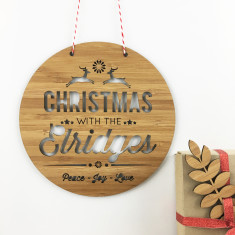 Personalised Christmas bamboo wall hanging