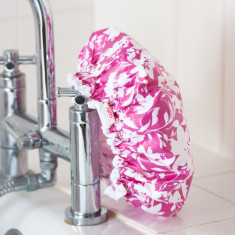 Shower Cap in Pink Tropical print