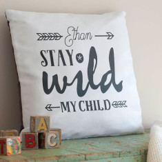 Personalised Stay Wild Child Nursery Cushion