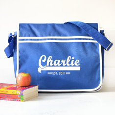 Personalised Retro Blue Messenger Bag