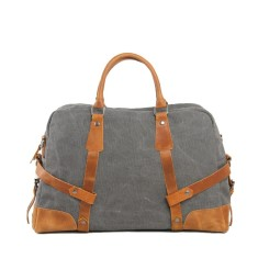 Canvas Travel Duffle Bag With Leather Handle Grey