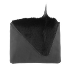 Sophie Asymmetrical Black Bok + Leather Clutch