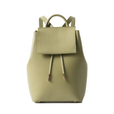 Leather drawstring backpack in green