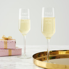 Personalised 'Vintage' Birthday Champagne Flute