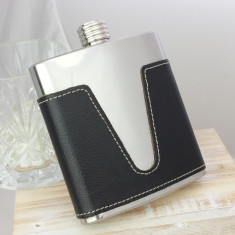 Detailed Leather Personalised Hip Flask