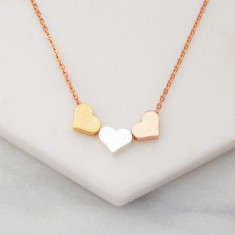 Triple tone heart necklace in gold, silver and rose gold