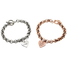 Personalised 9ct gold love heart chunky bracelet