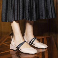 Bonnie Mary Jane Flats in Nude Pink with Navy Double Straps