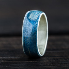 Silver bentwood ring in blue