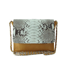 Natural python and tan lambskin leather crossbody sling bag
