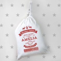 Personalised Small Vintage Style Santa Sack