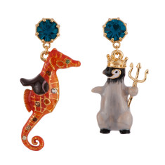 King Penguin And His Seahorse Asymmetrical Earrings