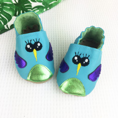 Personalised Turquoise Hummingbird Baby Shoes