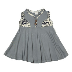 Elizabeth summer dress in grey and bamboo