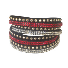 Studded double wrap bracelet in red