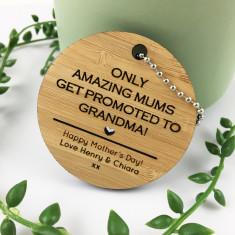 Personalised round heart bamboo keyring
