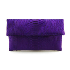 Indigo python leather classic foldover clutch