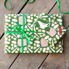 Vegetarian Christmas dinner wrapping paper set