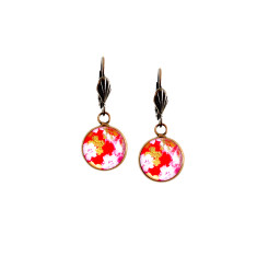 Vintage style Japanese Chiyogami lever-back earrings in flame