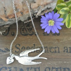 Verity sterling silver swallow and heart necklace