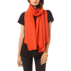 Vertou cashmere shawl in tangelo