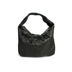 Black python leather long hobo bag
