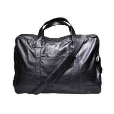 Black 20 inch leather duffle bag