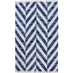 Blue handmade flat weave cotton rug