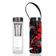 Glass is greener double walled tea flask 500ml with red butterfly print carry cover