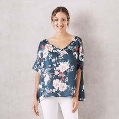 Bianca top in Floral Vienna with V-Neck