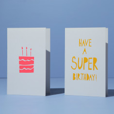 Birthday Cards - neon coral & yellow on white (2 card pack)