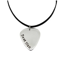 Best Man Guitar pick sterling silver personalised pendant