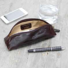 Personalised Felice leather pencil case