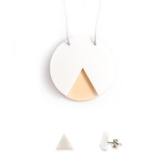 GEO necklace & earrings gift set - circle white and ply