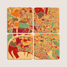 Aerial map of Melbourne, VIC bamboo coasters (set of 4)